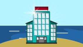 海岛HD定义的旅馆 向量例证