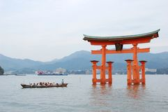 海岛itsukushima宫岛寺庙 免版税图库摄影