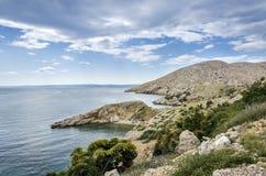 海岛Krk,克罗地亚的全景 库存图片