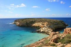 海岛lampedusa兔子西西里岛 免版税库存照片