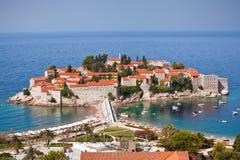 海岛montenegro手段stefan sveti 图库摄影