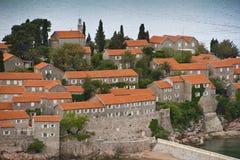 海岛montenegro手段stefan sveti 库存图片