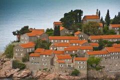 海岛montenegro手段stefan sveti 库存照片