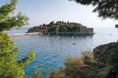 海岛montenegro st stefan 图库摄影