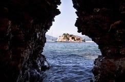 海岛montenegro stefan sveti 库存照片