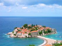 海岛montenegro stefan sveti 库存图片