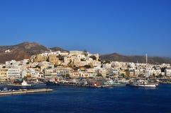 海岛naxos端口 免版税库存照片
