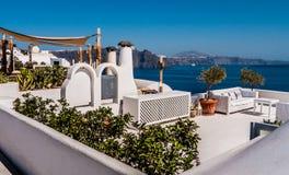 海岛oia santorini 希腊 免版税库存照片