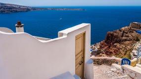 海岛oia santorini 希腊 图库摄影