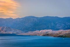 海岛Pag,克罗地亚风景  免版税库存照片