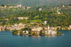 海岛San朱利奥Orta湖,意大利 库存照片