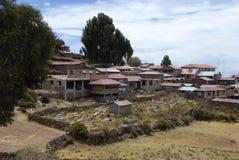 海岛taquile村庄 库存图片