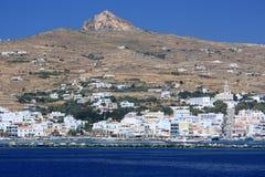 海岛tinos城镇 库存照片