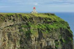 海岸南冰岛的灯塔 库存图片