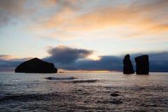 海岸和岩石在Mosteiros,亚速尔群岛 库存照片