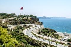 海岸和海滩的看法在安塔利亚 库存照片