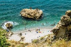 海岸和海滩的看法在安塔利亚 免版税库存照片