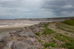 海岸和海滩在欣克利点萨默塞特附近 免版税库存照片