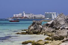 海岸在坎昆,墨西哥 免版税库存图片