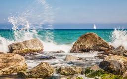 海岸在巴达洛纳 免版税库存照片