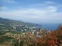 海岸在海洋城市 Partenit Creamea 免版税图库摄影
