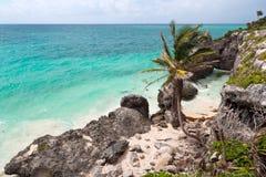 海岸墨西哥tulum 库存照片