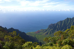 海岸夏威夷kalalau考艾岛na pali谷 库存照片