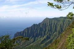 海岸夏威夷kalalau考艾岛na pali谷 免版税图库摄影