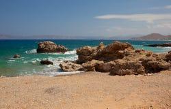 海岸岩石的克利特 库存照片