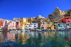海岸意大利那不勒斯procida海运 免版税库存照片