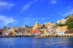 海岸意大利那不勒斯procida海运 库存照片