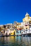 海岸意大利那不勒斯procida海运 库存图片