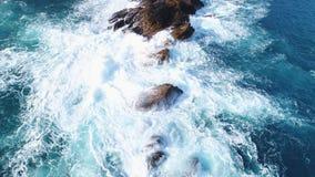 海岸摇滚的Waimushan海边风景区空中射击  股票录像