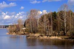 海岸早期的湖春天 库存照片