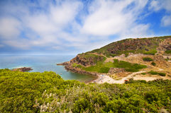 海岸晃动沙子撒丁岛海运 免版税图库摄影