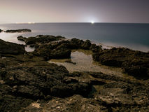 海岸月光 免版税库存照片