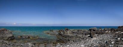 海岸火山夏威夷的全景 库存图片