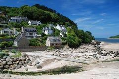 海岸的布里坦尼村庄 免版税库存照片