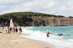 海岸的海滩基于 库存图片
