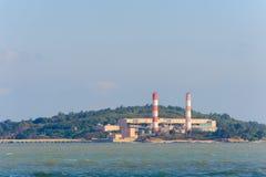 海岸的能源厂在金门,台湾 库存照片