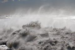 海岸的风大浪急的海面 库存照片