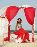 海岸的年轻俏丽的西班牙妇女与飞行头发,热的se 库存图片