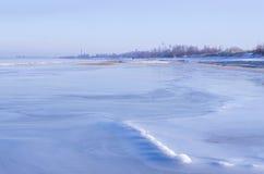 海岸看法在冬天 库存图片