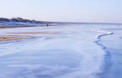 海岸看法在冬天 库存照片