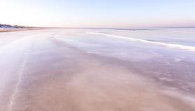 海岸看法在冬天 图库摄影