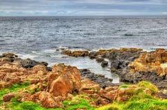 海岸看法在Portstewart 库存照片