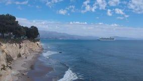 海岸线公园峭壁圣芭卜拉定点飞越 影视素材