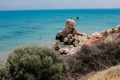 海岸线和海在塞浦路斯 免版税库存图片