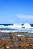 海岸线和高波浪在好望角 库存图片