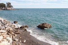 海岸线在马拉加 免版税库存照片